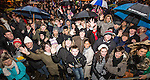 © Joel Goodman - 07973 332324 . 31/12/2013 . Manchester , UK . Revellers gather in Piccadilly Gardens ahead of the New Years fireworks display to usher in 2014 . Photo credit : Joel Goodman