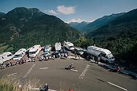 Simon Geschke (DEU/Sunweb) up the final climb of the day (in Spain!): the Col du Portillon (Cat1/1292m)<br /> <br /> Stage 16: Carcassonne &gt; Bagn&egrave;res-de-Luchon (218km)<br /> <br /> 105th Tour de France 2018<br /> &copy;kramon