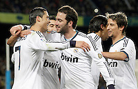 Real Madrid's Cristiano Ronaldo, Angel Di Maria, Gonzalo Higuain, Sami Khedira and Fabio Coentrao celbrate goal during Copa del Rey - King's Cup semifinal second match.February 26,2013. (ALTERPHOTOS/Acero) /Nortephoto