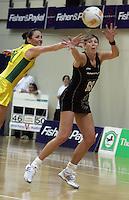 12.10.2006. Silver Ferns Irene Van Dyk and Australian Liz Ellis in action during the First Netball match between the Silver Ferns and Australia played in Wellington. Mandatory Photo Credit: ©Michael Bradley.