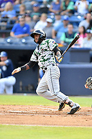 Augusta GreenJackets right fielder Sandro Fabian (6) swings at a pitch during a game against the Asheville Tourists at McCormick Field on July 15, 2017 in Asheville, North Carolina. The Tourists defeated the GreenJackets 2-1. (Tony Farlow/Four Seam Images)