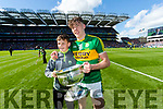 Micheal Keane and David Clifford Kerry captain lifts the Tom Markham Cup after defeating Derry in the All-Ireland Minor Footballl Final in Croke Park on Sunday.