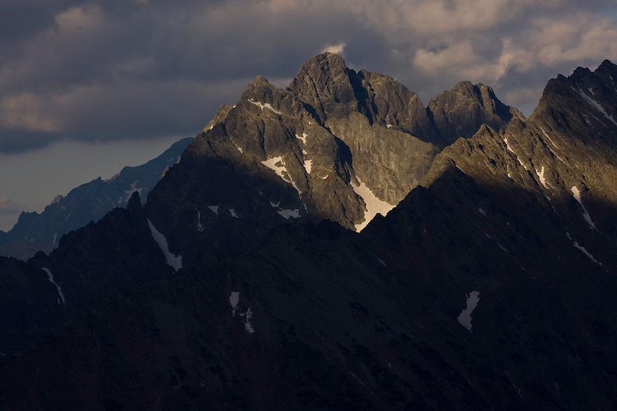 Mount Mengusovsky stit (2438m als) at sunset. High Tatras, Slovakia. June 2009. Mission: Ticha