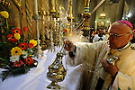 Michel Sabah, Latin Patriarch of Jerusalem, conducts an Easter Mass at the Church of the Holy Sepulchre in Jerusalem.