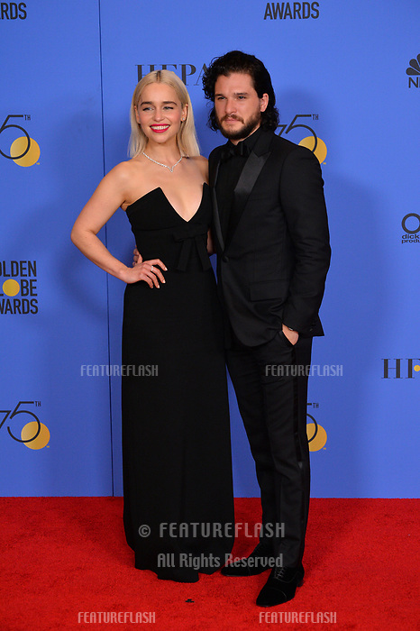 Emilia Clarke &amp; Kit Harington at the 75th Annual Golden Globe Awards at the Beverly Hilton Hotel, Beverly Hills, USA 07 Jan. 2018<br /> Picture: Paul Smith/Featureflash/SilverHub 0208 004 5359 sales@silverhubmedia.com