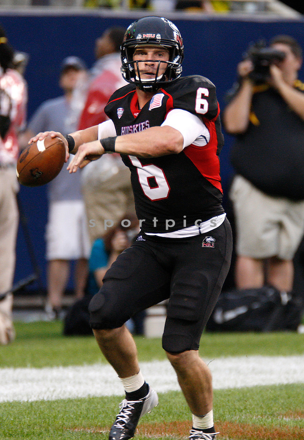 Northern Illinois Huskie Jordan Lynch (6) in action during a game against the Iowa Hawkeyes on September 1, 2012 at Huskie Stadium in DeKalb, IL. Iowa beat Northern Illinois 18-17.