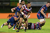 Nigel Ah Wong looks for support as he is tackled byTomas Aoake.  . Mitre 10 Cup game between Counties Manukau Steelers and Tasman Mako's, played at ECOLight Stadium Pukekohe on Saturday October 14th 2017. Counties Manukau won the game 52 - 30 after trailing 22 - 19 at halftime. <br /> Photo by Richard Spranger.