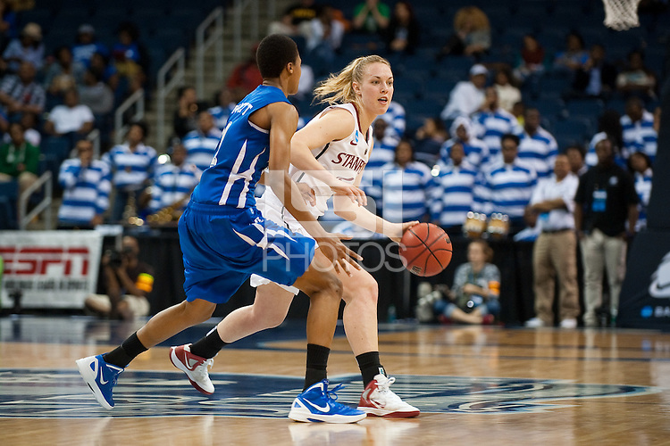 NORFOLK, VA--Freshman Taylor Greenfield looks for a teammate against Hampton University at the Ted Constant Convocation Center at Old Dominion University in Norfolk, VA in the first round of the 2012 NCAA Championships. The Cardinal advanced with a 73-51 win to play West Virginia on Monday, March 19.