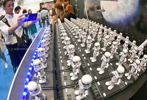 June 18, 2015, Tokyo, Japan - The Star Wars Space Opera, a gadget that links as many as 80 toy storm troopers for a line dance to the music of the space adventure, is on display  at the Tokyo Toy Show, the largest of its kind, which opened for four days on Thursday, June 18, 2015. The annual size of the Japanese toy market reached 736.7 billion yen in fiscal 2014 (through to March 2015), the best sales in a decade.  (Photo by Natsuki Sakai/AFLO)