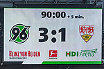06.10.2018, HDI Arena, Hannover, GER, 1.FBL, Hannover 96 vs VfB Stuttgart<br /> <br /> DFL REGULATIONS PROHIBIT ANY USE OF PHOTOGRAPHS AS IMAGE SEQUENCES AND/OR QUASI-VIDEO.<br /> <br /> im Bild / picture shows<br /> Anzeigetafel / Endstand, Feature, <br /> <br /> Foto &copy; nordphoto / Ewert