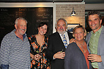 """Guiding Light and OLTL's Kim Zimmer and As The World Turns' Bill Tatum """"Arthur"""" star along with Kyra Adams in The Shuck written by Shawn Fisher (R) and directed by Roy Steinberg (Director Days of Our Lives, AMC and Guiding Light) & OLTL Dr. Longo and who is the artistic director at this theatre (C) on opening nght Sept. 26, 2018 at the Cape May Stage at the after party in Cape May, New Jersey. (Photo by Sue Coflin/Max Photo)"""