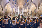November 17, 2018; Notre Dame Marching Band trumpets play the Alma Mater after the Shamrock Series Mass at St. Patrick's Cathedral .(Photo by Barbara Johnston/University of Notre Dame)