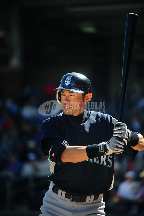 Mar. 10, 2010; Tempe, AZ, USA; Seattle Mariners batter Ichiro Suzuki against the Texas Rangers during a spring training game at Surprise Stadium. Mandatory Credit: Mark J. Rebilas-