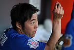 Chicago Cubs' Koji Uehara talks in the dugout of a spring training game against the Diamondbacks in Phoenix, AZ, on Thursday, March 23, 2017.<br /> Photo by Cathleen Allison/Nevada Photo Source