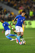 June 13th 2017, Melbourne Cricket Ground, Melbourne, Australia; International Football Friendly; Brazil versus Australia; Philippe Coutinho of Brazil concentrates on the ball