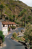 Abandoned houses on winding road in Vallehermosa, La Gomera, Canary Islands, Spain.