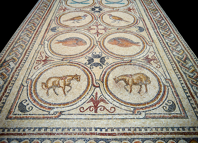 Roman Byzantine floor Mosaics of the early Christian Church of St. Christopher, Qabar Hiram, Lebanon, AD 575. Louvre Museum Paris inv 2230-2235