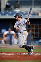 Bradenton Marauders catcher Jason Delay (5) follows through on a swing during a game against the Charlotte Stone Crabs on August 6, 2018 at Charlotte Sports Park in Port Charlotte, Florida.  Charlotte defeated Bradenton 2-1.  (Mike Janes/Four Seam Images)