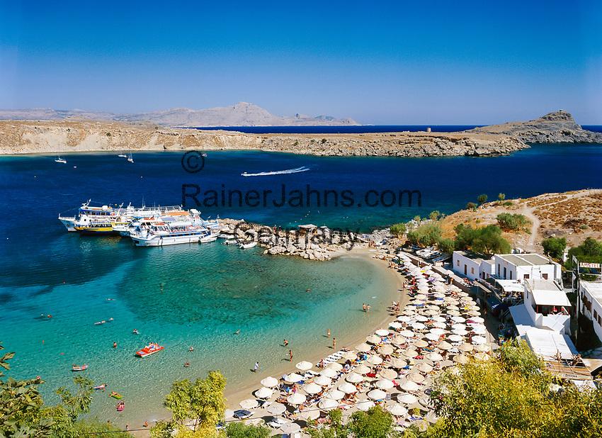 Griechenland, Dodekanes, Rhodos, Lindos: Bucht und Strand   Greece, Dodekanes, Rhodes, Lindos: Bay and Beach