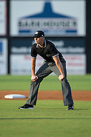 Umpire Mike Snover handles the calls on the bases during the Appalachian League game between the Pulaski Yankees and the Danville Braves at American Legion Post 325 Field on August 1, 2016 in Danville, Virginia.  The Yankees defeated the Braves 4-1.  (Brian Westerholt/Four Seam Images)