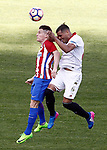 Atletico de Madrid's Kevin Gameiro (l) and Sevilla FC's Gabriel Mercado during La Liga match. March 19,2017. (ALTERPHOTOS/Acero)