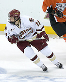 Joe Adams 11 of Boston College turns up ice. The Eagles of Boston College defeated the Falcons of Bowling Green State University 5-1 on Saturday, October 21, 2006, at Kelley Rink of Conte Forum in Chestnut Hill, Massachusetts.<br />