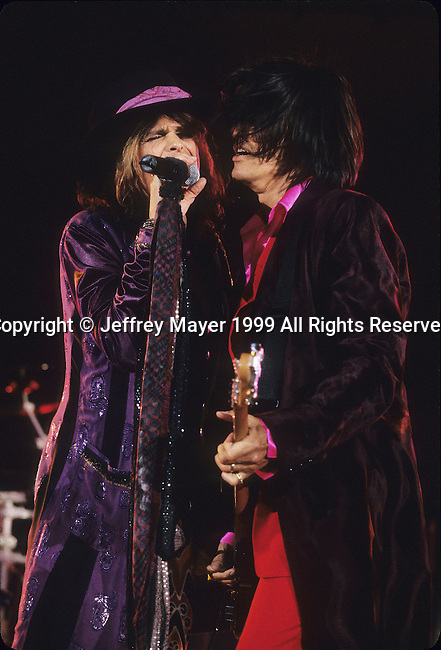 LOS ANGELES, CA - SEPTEMBER 03: Steven Tyler and Joe Perry of Aerosmith in Concert May 7, 1999 at The Hollywood Bowl in Hollywood, California...........................................................................................................................................