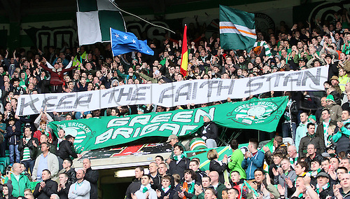 21.04.2013 Glasgow, Scotland. Celtic fans bring out a banner in support of Stan Petrov who is battling leukemia  during the Scottish Premier League game between Celtic and Inverness Caledonian Thistle from Celtic Park.