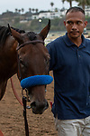 DEL MAR, CA  AUGUST 31: #5 Bast, accompanied by her groom heads to the barn after winning the Del Mar Debutante (Grade l) on August 31, 2019 at Del Mar Thoroughbred Club in Del Mar, CA. ( Photo by Casey Phillips/Eclipse Sportswire/CSM)