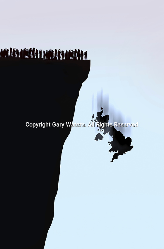 Crowd of people left behind as United Kingdom falls over the edge of a cliff