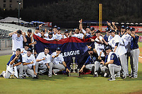 The Mobile BayBears celebrate after game four of the Southern League Championship Series between the Mobile Bay Bears and the Tennessee Smokies at Smokies Park on September 18, 2011 in Kodak, Tennessee.  The BayBears won the Southern League Championship 6-4.  (Tony Farlow/Four Seam Images)