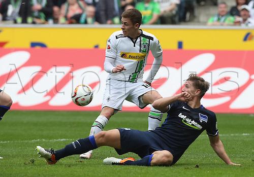 03.04.2016. Monchengladbach, Germany.  Bundesliga Football. Borussia Monchengladbach versus Hertha Berlin.  Niklas Strong Berlin  against Thorgan Hazard Moenchengladbach