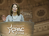 United States Representative Michele Bachman (Republican of Minnesota) speaks at the Conservative Political Action Conference (CPAC) at the Gaylord National at National Harbor, Maryland on Saturday, March 8, 2014.<br /> Credit: Ron Sachs / CNP