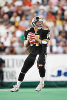 July 12, 2002; Hamilton, Ontario, Canada; Hamilton Tiger-Cats quarterback (14) Danny McManus in action during the 2002 season at Ivor Wynne Stadium. Photo © Ron Scheffler. MANDATORY CREDIT