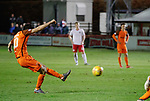17.04.2018 Brechin City v Dundee utd:<br /> Scott Fraser scores from a free-kick to score goal no 4