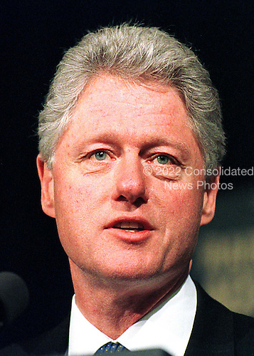 United States President Bill Clinton makes remarks at the Federal Relations Confrence of the National School Boards Association in Washington, D.C. on February 1, 1999..Credit: Ron Sachs / CNP