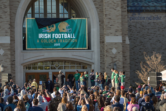Apr. 26, 2015; The 2015 version of The Shirt is formally unveiled at the Hammes Bookstore. (Photo by Matt Cashore/University of Notre Dame)