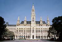 Vienna: The Ringstrasse--New City Hall by Friedrich Von Schmidt. Rathausplatz, 1872-1883. Gothic style. Photo '87.
