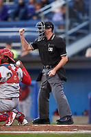 Umpire Brandin Sheeler during a game between the Williamsport Crosscutters and Batavia Muckdogs on August 27, 2015 at Dwyer Stadium in Batavia, New York.  Batavia defeated Williamsport 3-2.  (Mike Janes/Four Seam Images)