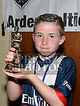 Ardee Celtic Under 10A player of the year Sean Callaghan at the Ardee Celtic annual awards night in Ardee parish centre. Photo:Colin Bell/pressphotos.ie