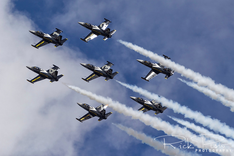 The Breitling Jet Team, flying Aero L-39 Albatros trainers, make a formation pass  during an airshow in Hillsboro, Oregon, in August of 2016