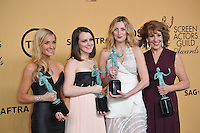 Downton Abbey stars Joanne Froggatt (left), Sophie McShera, Laura Carmichael &amp; Phyllis Logan at the 2015 Screen Actors Guild  Awards at the Shrine Auditorium.<br /> January 25, 2015  Los Angeles, CA<br /> Picture: Paul Smith / Featureflash