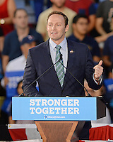 MIAMI, FL -  OCTOBER 11: U.S. Congressman Patrick Murphy speaks as Democratic Presidential Candidate Hillary Clinton and Former Vice President Al Gore campaign during a rally to discuss climate Change on October 11, 2016 in Miami, Florida. Credit: mpi04/MediaPunch