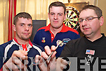 Liam Pierce, Tim O'Connor and John Sheehan, Millstreet, pictured at the St Pauls darts tournament in the Heights Hotel Killarney on Saturday.....