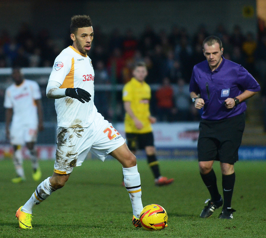 Newport County's Christian Jolley in action during todays match  <br /> <br /> Photo by Kevin Barnes/CameraSport<br /> <br /> Football - The Football League Sky Bet League Two - Burton Albion v Newport County - Sunday 29th December 2013 - Pirelli Stadium - Burton upon Trent<br /> <br /> &copy; CameraSport - 43 Linden Ave. Countesthorpe. Leicester. England. LE8 5PG - Tel: +44 (0) 116 277 4147 - admin@camerasport.com - www.camerasport.com