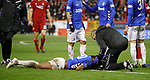 06.02.2019:Aberdeen v Rangers: Alfredo Morelos and physio Stevie Walker