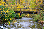 A Foot Bridge Over A River In Autumn At The Park, Sharon Woods, Southwestern Ohio, USA