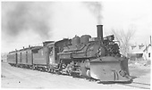 K-28 #471 with Santa Fe Branch passenger train at Espanola with RPO and coach.<br /> D&amp;RGW  Espanola, NM