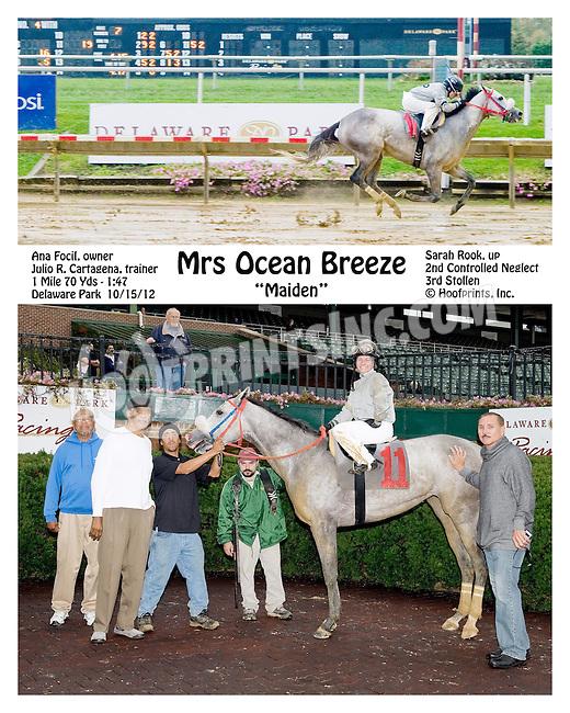 Mrs Ocean Breeze winning at Delaware Park on 10/15/12