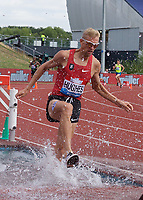 Matthew Hughes of Canada competing in the Men's 3000m Steeplechase during the Muller Grand Prix  IAAF Diamond League meeting at Alexander Stadium, Perry Barr, Birmingham.<br /> Picture by Alan Stanford +44 7915 056117<br /> 18/08/2018